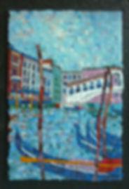 мозаичная картина, венецианский пейзаж, мост через Большой канал, пейзаж с гондолами, мост Риальто