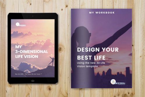 3D Life Vision Template + Printable Workbook $17USD (approx $24AUD)