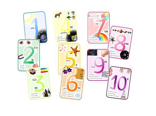 Cartões de números 1 a 10 (inspiração Waldorf)