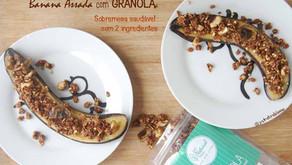Banana Assada com Granola (sobremesa saudável com 2 ingredientes)