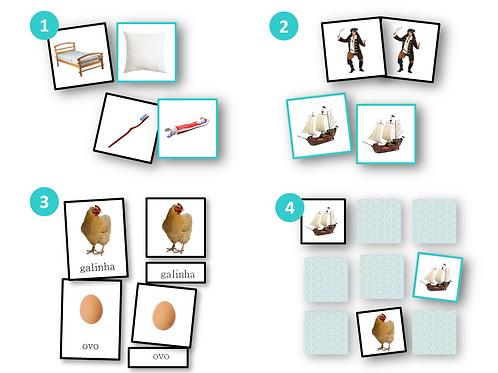 Cartões Imprimíveis Atividade 4 em 1: Associações, Pares, Memória & Nomenclatura