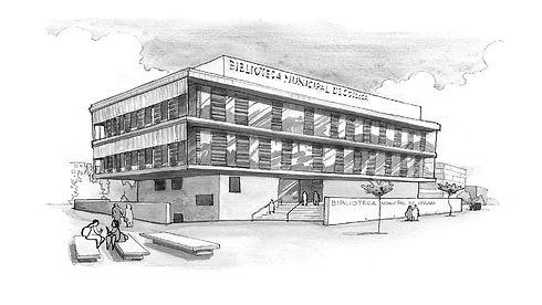 dibujo en blanco y negro de la Biblioteca Central de Coslada