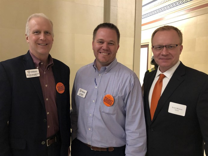 Oklahoma Aggregates Association executive director Devery Youngblood, OKAA board member Joe Mathia and OnCue government and community relations director Scott Minton were among the TRUST members attending Transportation Day at the Capitol.