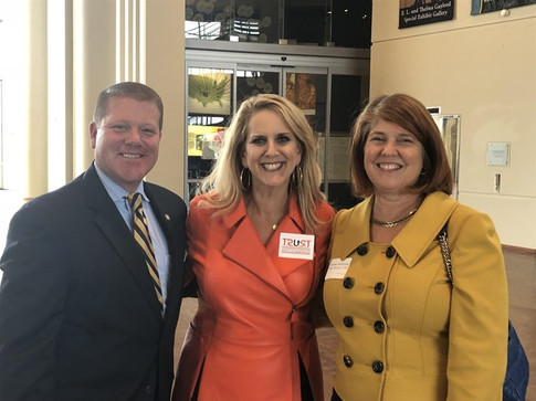 House Majority Leader Mike Sanders, TRUST executive director Jami Longacre and The State Chamber's Karma Robinson at the TRUST Transportation Innovation Forum.