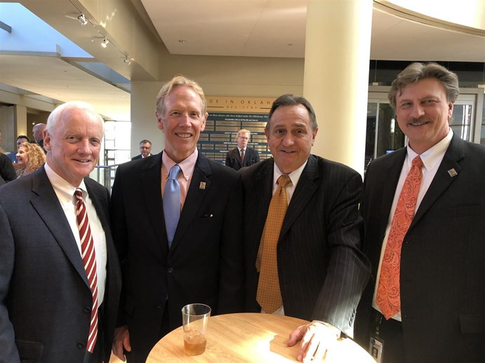 Former Governor and TRUST co-chairman Frank Keating, retiring ODOT executive director Mike Patterson, TRUST co-chairman Kell Kelly and incoming ODOT executive director Tim Gatz at Patterson's retirement reception at the Oklahoma History Center.