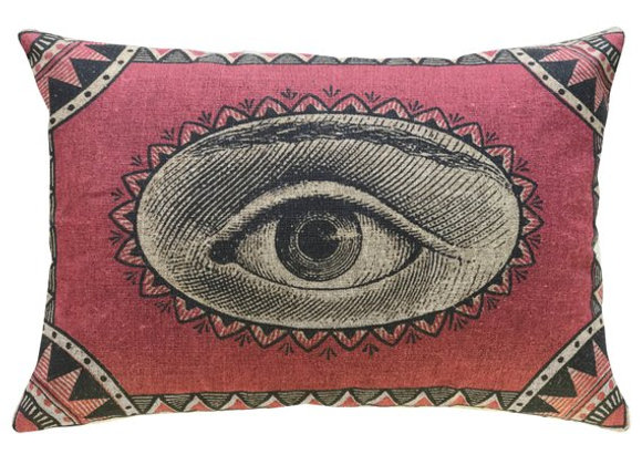 Eye See You Handcrafted Linen Pillow