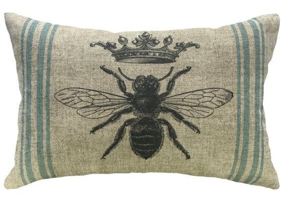 Queen Bee Handcrafted Linen Pillow