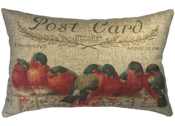 Postcard Birds Handcrafted Linen Pillow