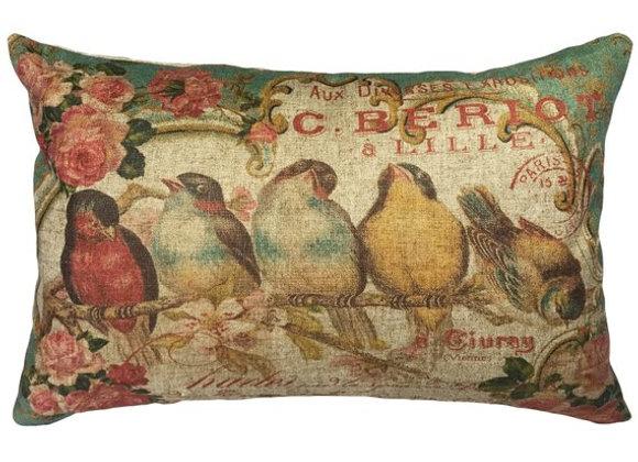 Bird Seranade Handcrafted Linen Pillow