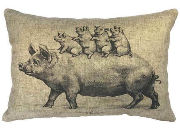 Piggly Wigglys Linen Handcrafted Pillow