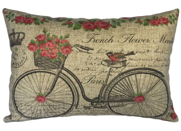 French Bicycle Handcrafted Linen Pillow