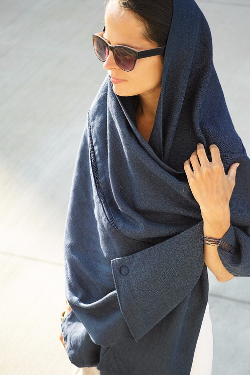 "úvodnice V-O-D-A /pléd/ | linen shawl ""WATER"""