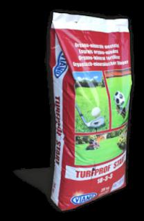 VIANO TURFPROF START 18-3-3  Este fertilizante orgâno-mineral é Ideal para a fertilização em campos de golfe e campos de futebol. Esta formulação, com alto teor em azotodeacçãorápida e azoto de acção lenta pode ser aplicado após a sementeira para estabelecer um bom 'start' do relvado. Funciona até 2 meses e garante um crescimento contínuo.