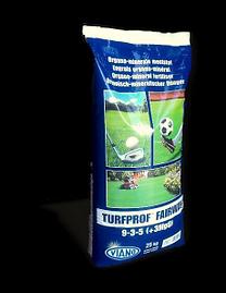 VIANO TURFPROF FAIRWAY 9-3-5 (+3MgO)  Viano TURFPROF têm uma acção de lixiviação lenta, não mancha ou queima e contém todos os nutrientes necessários para os relvados. Enriquecidos com bactérias, ácidos húmidos e ferro, esta gama de alta qualidade assegura relvados saudáveis e solos férteis