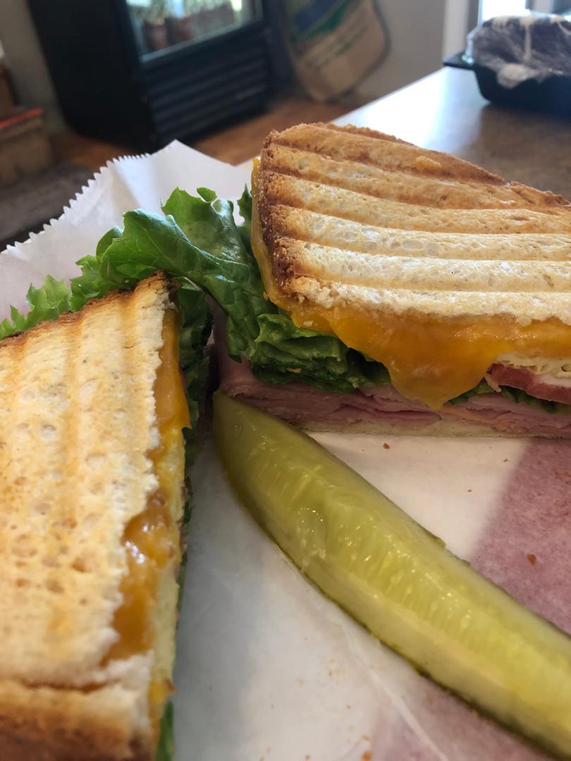 deli sandwich with pickle