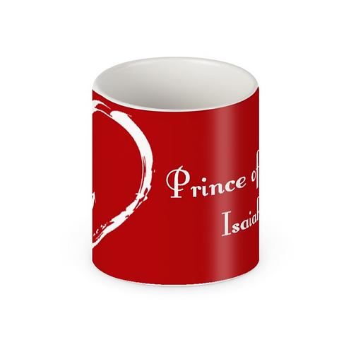 Red Prince of Peace Christmas Mug with white text