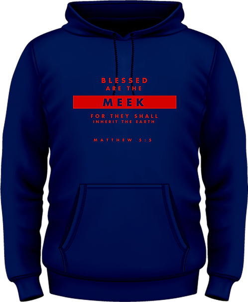Matthew 5:5 - Hooded Top - Beatitudes -  Blue