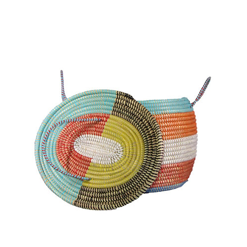 Large Oval Basket with Short Corded Handles