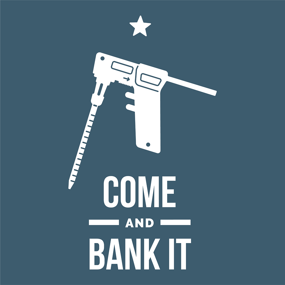 The classic Come and Take It Texas graphic, but using an electrical pipette as a symbol for our stem cell manufacturing technology at Hope Biosciences. Our Cells, Our Futures.