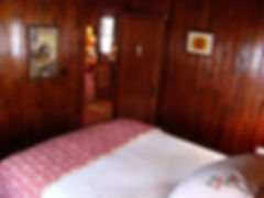 Vintage cabin guest bedroom WP 6 wood paneling walls