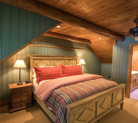 Traditional Log Home Upper Guest Bedroom