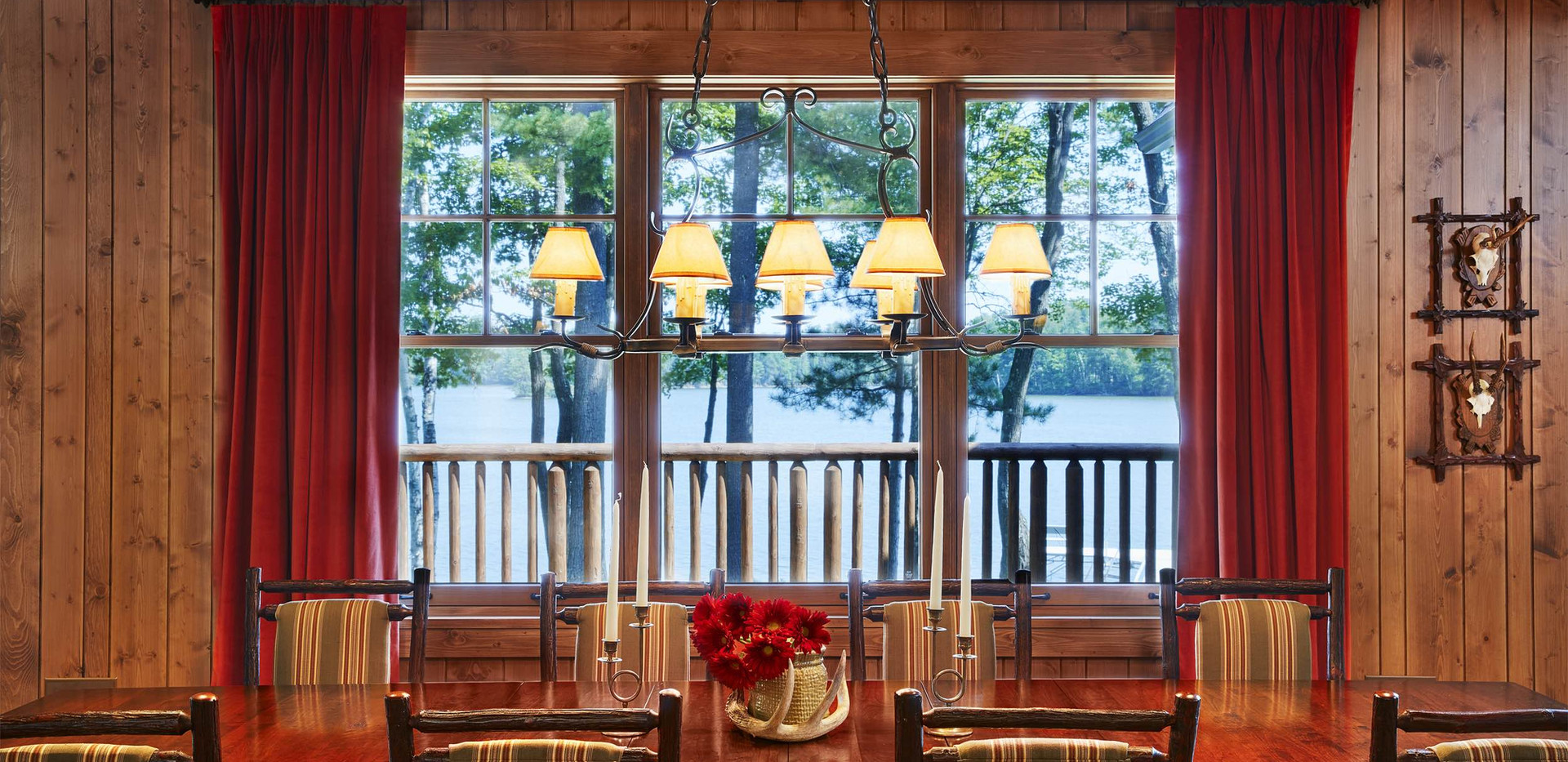 Traditional Lake Front Cabin Dining Room