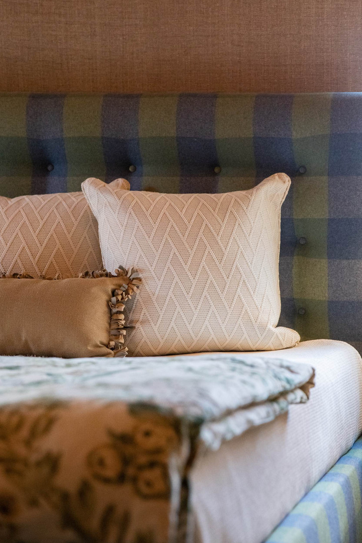 Plaid Upholstered Bed Frame