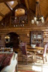 Wisconsin log lodge lake home Adirondack style loft balcony