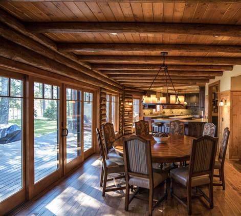 Traditional Log Lake Home Dining Room