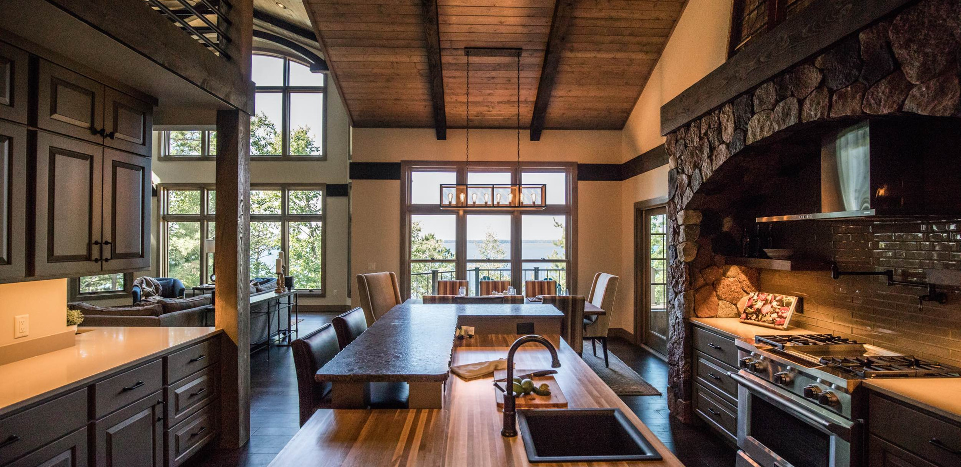 Contemporary lake home Dining Room
