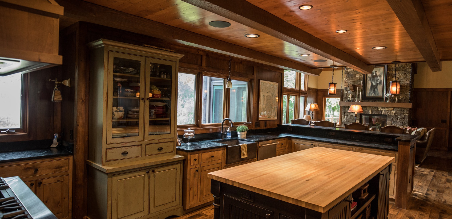 Traditional Cabin Chalet Kitchen Hutch