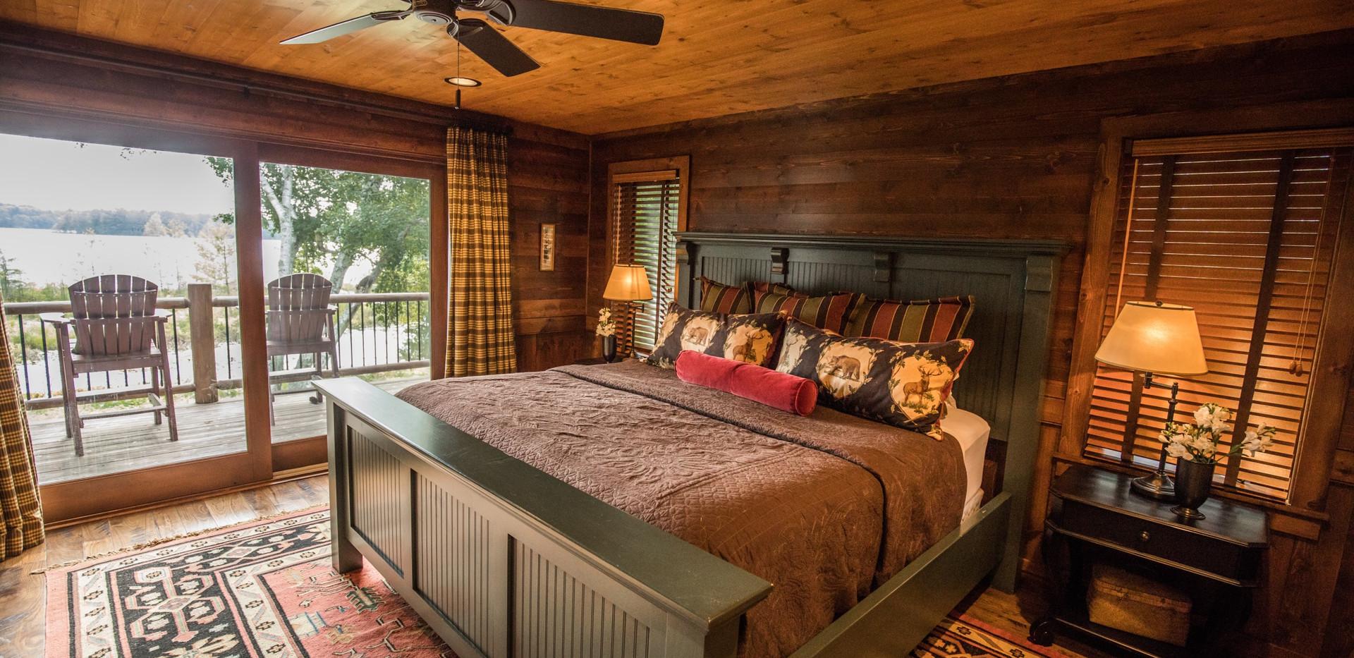 Traditional Chalet Cabin Master Bedroom