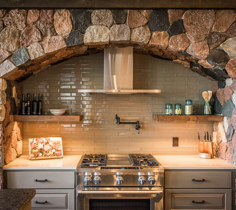 Contemporary lake home arched stove