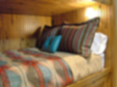 Log cabin bead board built in bunk bed with reading light
