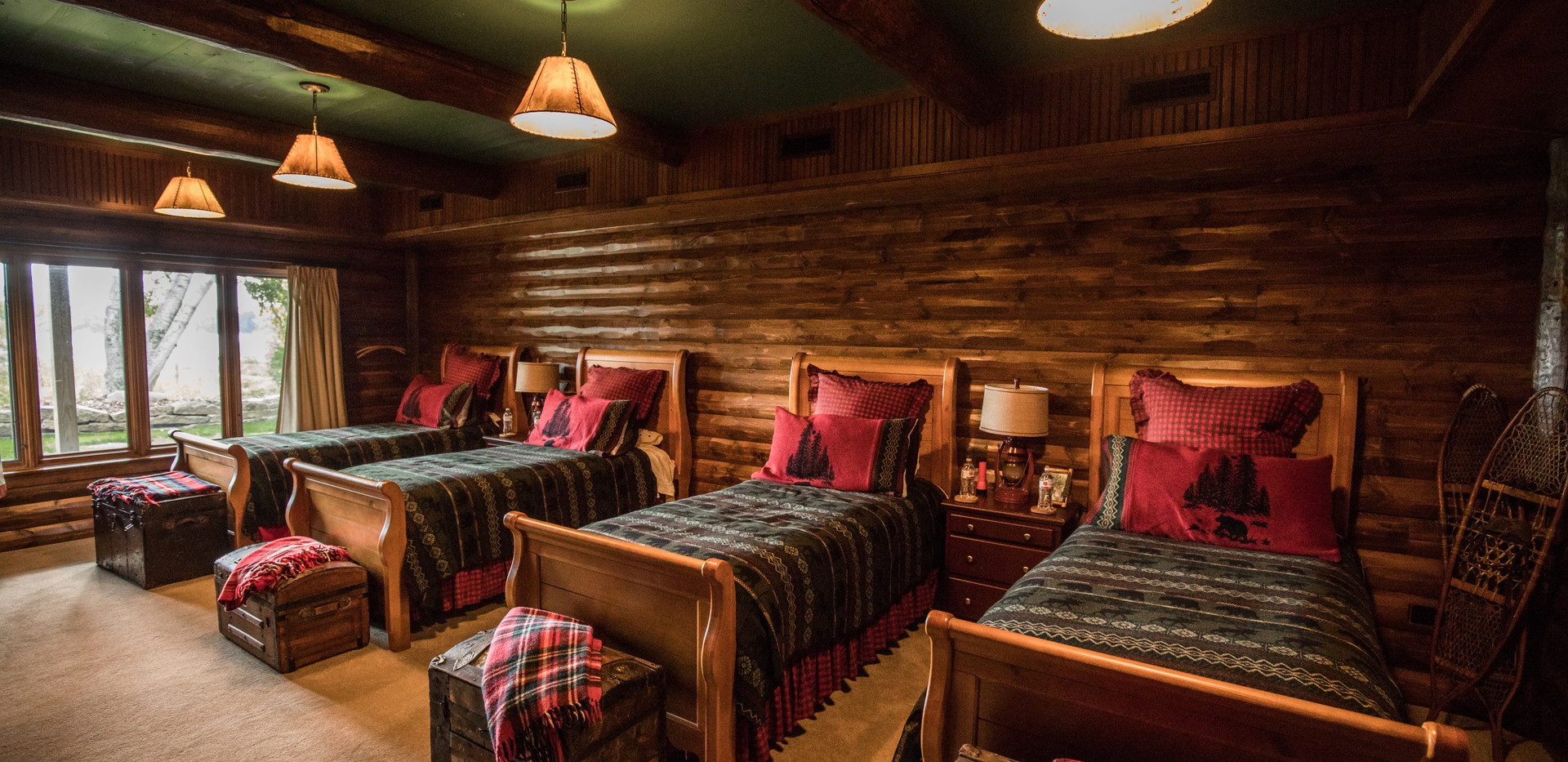 Traditional Chalet Cabin Remodel Bunk Room