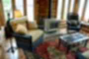 Natural wicker furniture in cabin porch