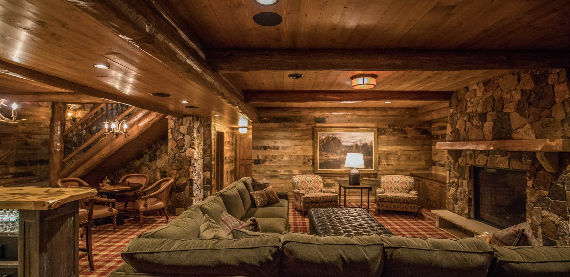 Traditional Log Lake Home Lower Level Family Room