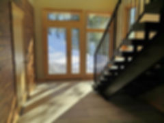 Steel metal wood staircase open foyer contemporary home