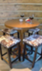 Log cabin pub table with cow hide barstools