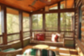 Log lake home screen porch swing