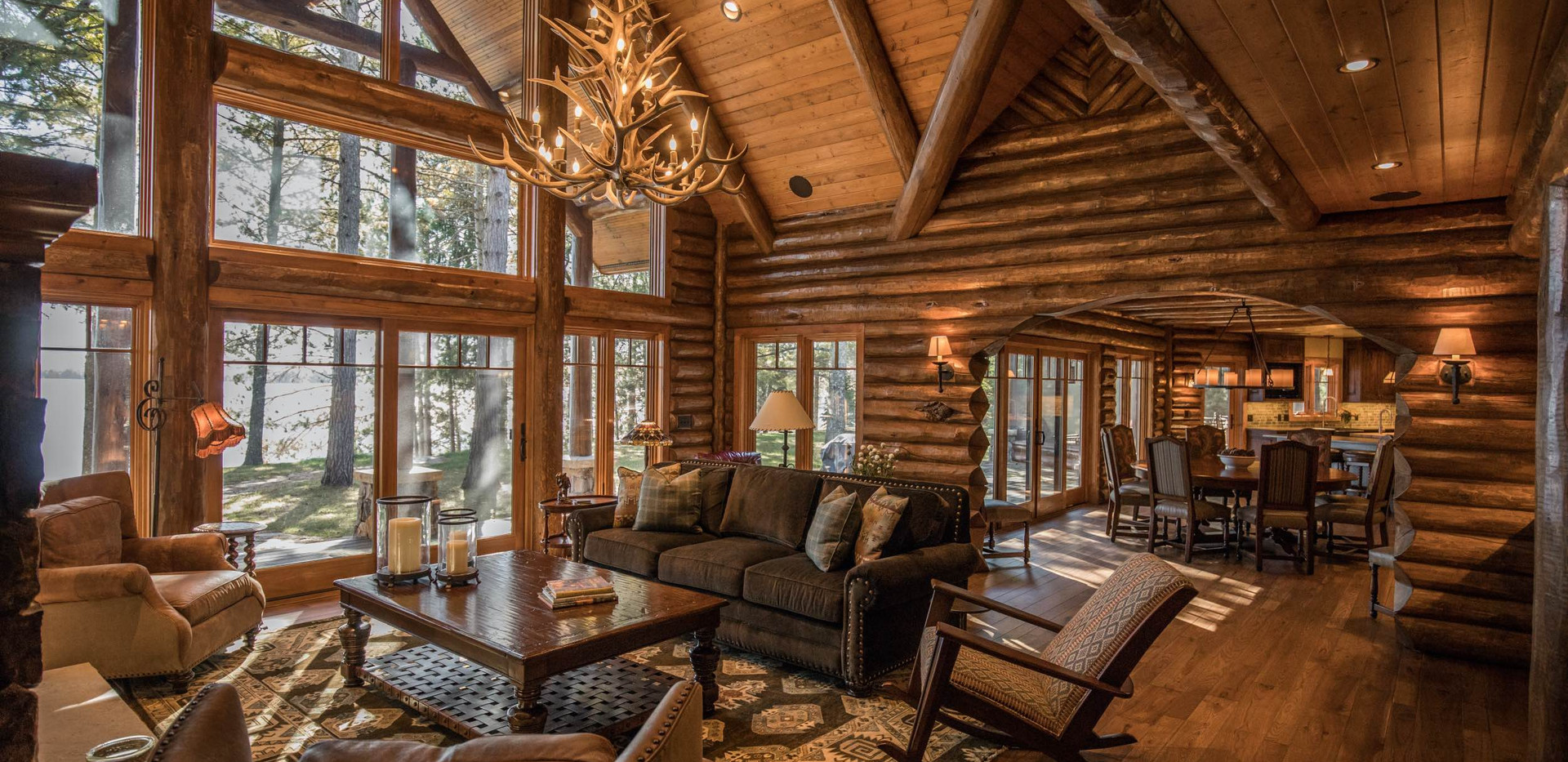 Traditional Log Lake Home Great Room