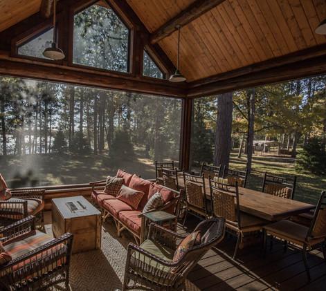 Traditional Log Lake Home Screen Porch