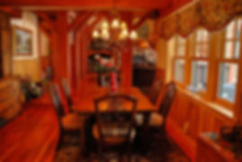 Timber frame home traditional dining room vingnette
