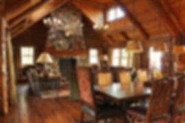 Clear view pitched ceiling roof log home interior