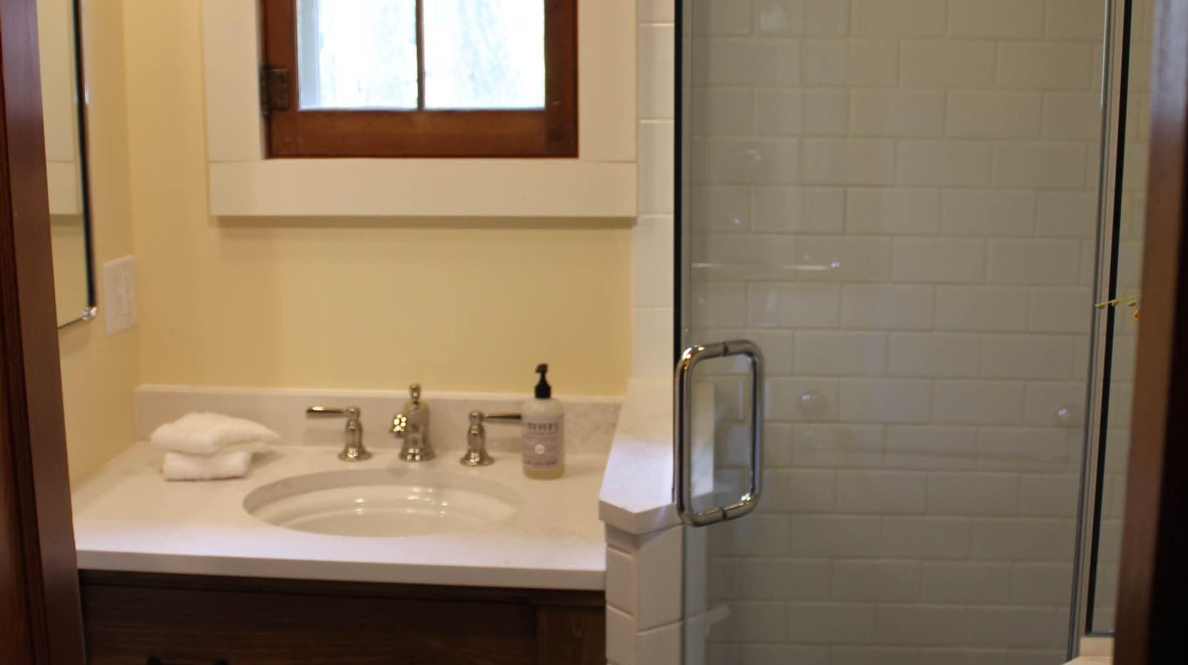 Vintage Cabin Remodel Bathroom Vanity