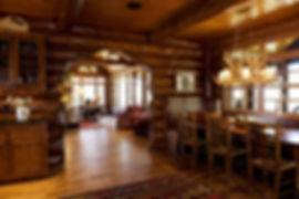 Grand log lodge lake home cut through hallway