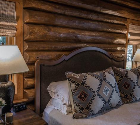 Traditional Log Lake Home Master Bed