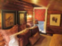 Full log cabin in the woods bedroom