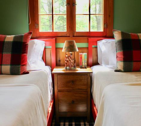 Vintage Cabin Remodel Twin Bedroom