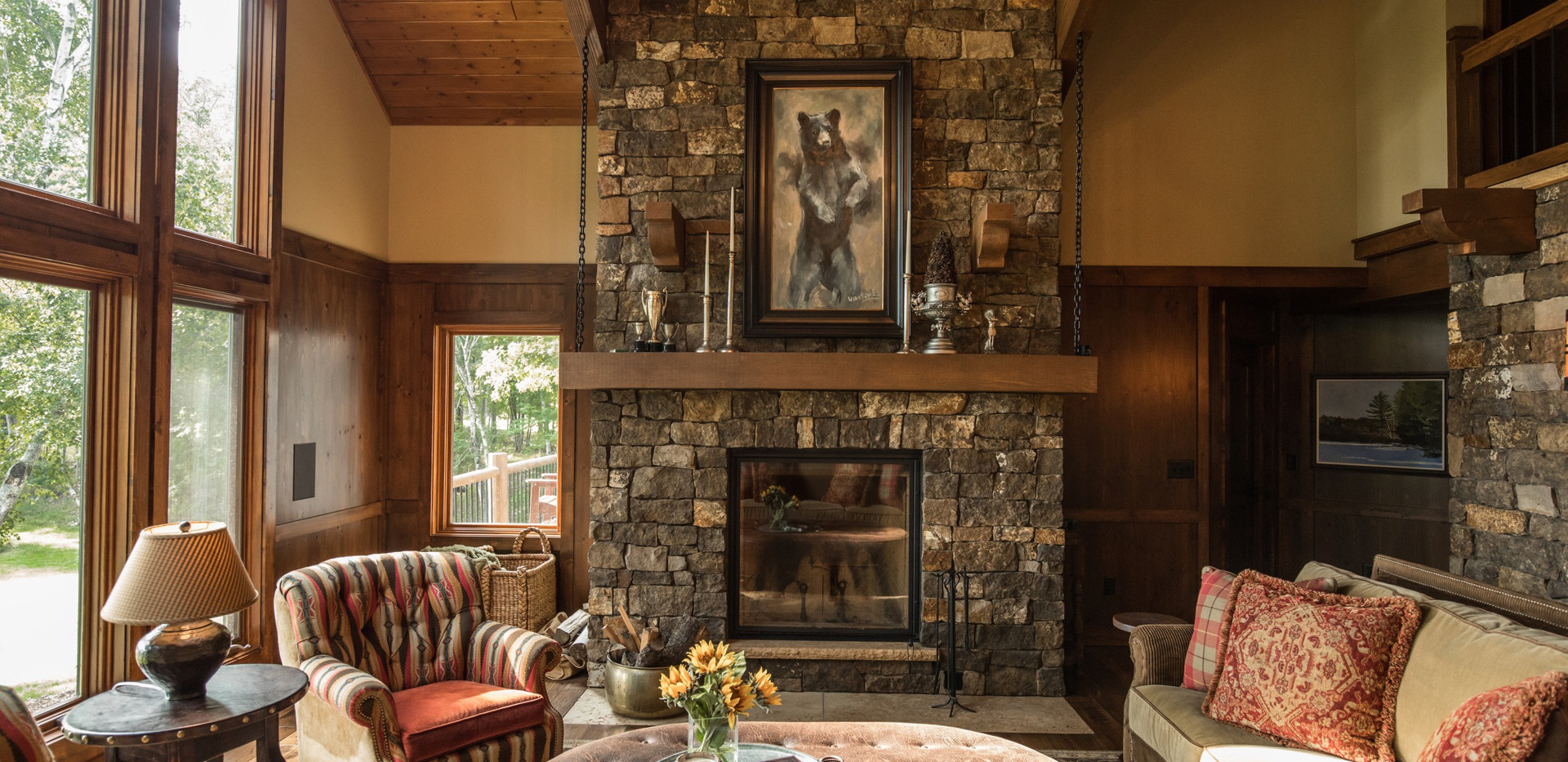 Traditional Cabin Chalet Stone Fireplace